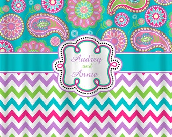 Personalized Designer Gypsy Paisley & Chevron Shower Curtain -Turquoise, Hot Pink, Lt Purple, Lime Personalized