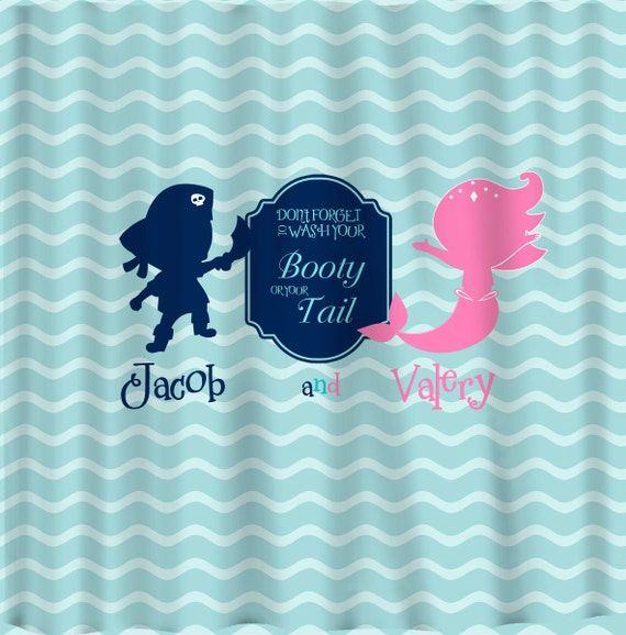 mermaid and pirate shower curtain pirate amp mermaid shared shower curtain pink navy by 253