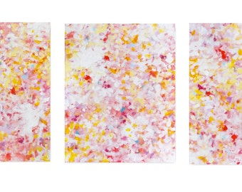 Pink Abstract Triptych Painting Original Modern Canvas Wall Art 20x48 - The Pursuit of Bliss 2 by Jessica Torrant