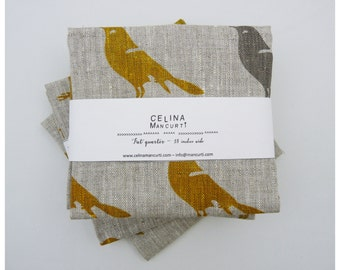 Linen Fat Quarter - Bird Mustard and Gray - hand screen printed linen by celina mancurti - Free Shipping to USA