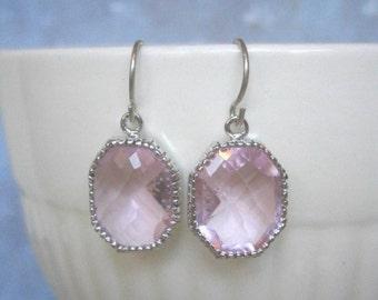 Clear Pink Earrings, Silver Earrings, Pink Earrings, Wedding Jewelry, Bridal Earrings, Bridesmaid Earrings, Mother of the Bride