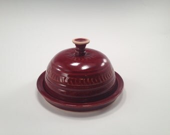 Lidded Plate in a deep firebrick (red/brown) glaze