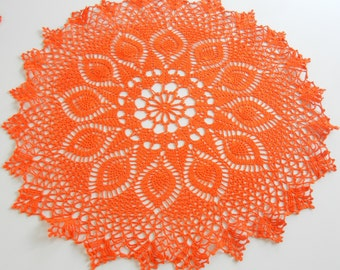 Hand Dyed Vintage Doily / Orange cotton / Large feather / Easter table decor / Upcycle / Orange centerpiece / Spring / Easter