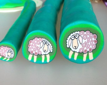 "Sheep cane polymer clay,  raw cane unbaked, 1/2"" diameter, handmade, ready to use"
