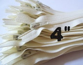4 Inch Vanilla  zippers, Ten pcs, ivory, off white, dress, pouch, all purpose zippers