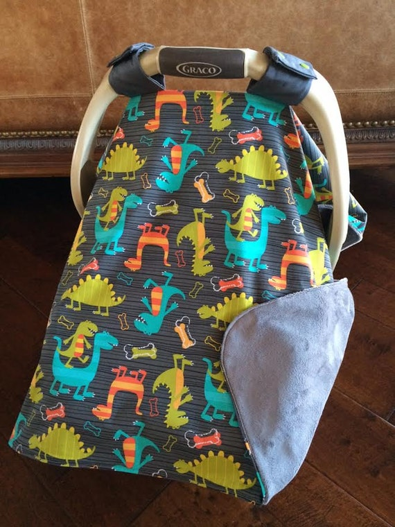 super cute baby car seat covers dino dudes in gray baby. Black Bedroom Furniture Sets. Home Design Ideas