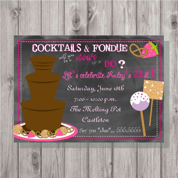 Digital Chalkboard Style Fondue Birthday Party Invitation DIY – Fondue Party Invitations