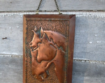 Vintage Hammered Copper Horse Picture on wood Wetern Rstic Decor