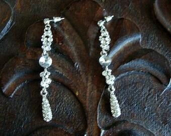 Vintage Retro Hollywood Chic Rhinestone Dangle Pierced Earrings