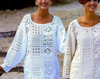 Vintage Crochet Pattern  Granny Square Motif Tops  Tunic Sweater Jacket Vest Top INSTANT DOWNLOAD PD