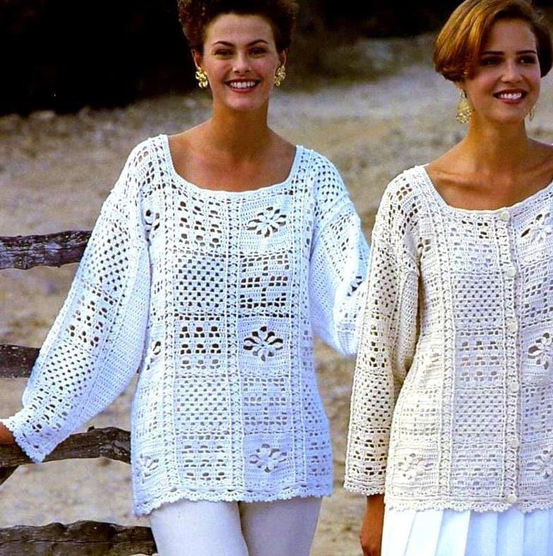 Crochet Granny Square Vest Pattern : Vintage Crochet Pattern Granny Square Motif Tops Tunic