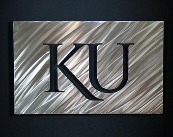 "18"" Stainless Steel KU Wall Art Kansas University Metal"
