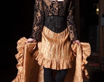 Steampunk Skirt, Gold , Steampunk, Renaissance, Clothing, Victorian, Hi-Low Skirt