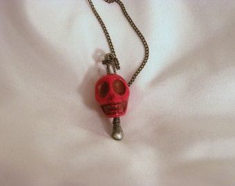 Pretty Little Liars Style Skull Necklace --Red Skull Pendant Necklace -- Howlite Skull Pendant