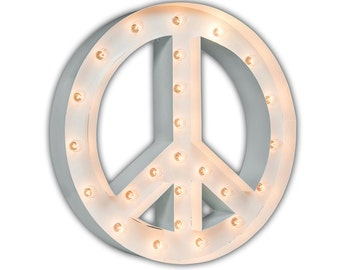 "Light Up Peace Sign - WHITE - 24"" Vintage Marquee Lights-The Original!"