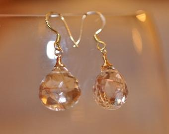 Large Rutilated Quartz Drop Dangle Earrings