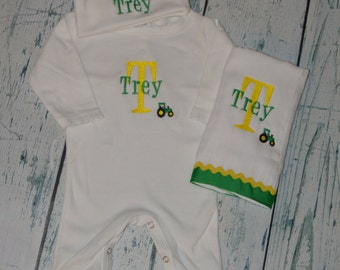 Personalized Sleeper Romper Hat and Burp Cloth set with Tractor, monogrammed Baby Tractor Outfit