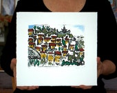 Mediterranean View: wall art, home decor, abstract etching, handed colored with pastel