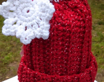 Christmas Ornament with Snowflake Crochet Hat