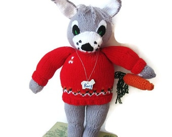 "Stuffed Bunny Rabbit Knitted  with Detachable Carrot OOAK Design -Custom Made 14"" Tall Plushie"