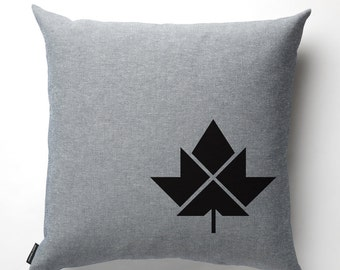 Maple Leaf Pillow in Denim with fill