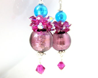 Murano Earrings, Colorful Dangle Earrings, Fuchsia Crystal Earrings, Purple Pink Aqua Blue Earrings, Glass Earrings, Murano Jewelry - Gifts