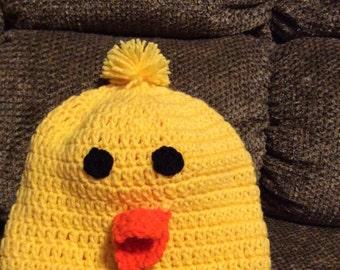 Duck Duck Duck Ducky Crochet Baby Cap - Size 3 months To adults