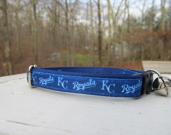 Kansas City Royals Cat  or Small Dog Collar w/ Option for Blue or Pink Backing