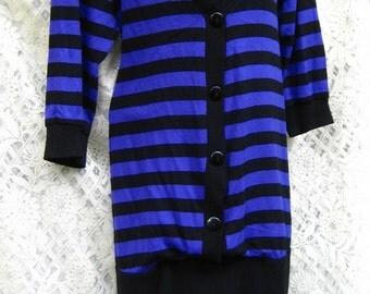 Maternity PUNK ROCK 1980s Purple Stripes Vintage dress Purple and Black American dress for larger sized woman