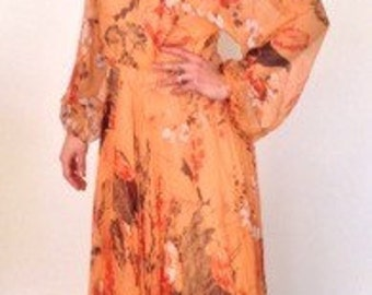 French vintage 1960s 1970s long cocktail orange silk dress with floral pattern - small medium S M