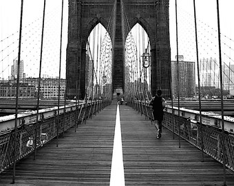 All Ways Lead To Brooklyn - Brooklyn Bridge traveling sex and the city Big apple NYC  New York New Yorker black and white photography 16x20