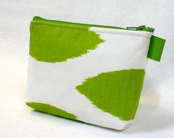 Ikat Fabric Gadget Pouch Cosmetic Bag Zipper Pouch Bridesmaid Makeup Bag Cotton Zip Pouch Lime White Chipper MTO