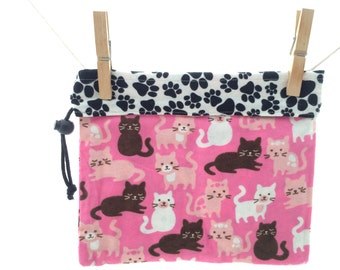 Kitty Cats and Paw Prints, Pink, White, Brown and Black, Reversible Project Bag, Medium