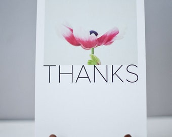 THANKS Note card - Thank you note card - Photography note cards -Set of 4 Note cards
