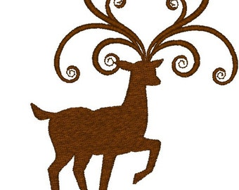 Machine Embroidery Design-Reindeer SINGLE #01 with 4x4 and 5x5 Hoop Sizes!