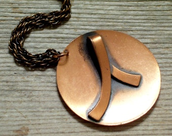 Vintage Copper Necklace, Modernist Pendant Necklace, Mid Century Copper Jewelry, Copper Pendant, Modernist Abstract, Boho Jewelry