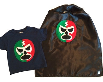 Luchador Rojo + Verde - Red + Green Mexican Wrestler Toddler T-Shirt & Black Cape Combo