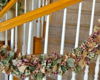 Homespun Fabric Garland,Country Fabric Garland,Rustic Fabric Garland,Rustic Home Decoration,Country and Rustic Garland,Custom Fabric Garland