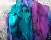 Scarf, Silk, Women, Hand Dyed, Silk Scarf, Blue Purple Orchid Seabreeze