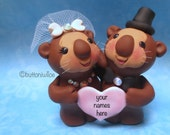 Otters in Love Wedding Cake Topper Keepsake with Personalized Heart Dark Brown Color