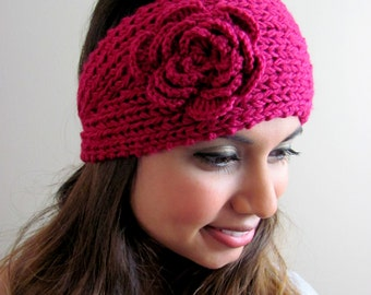 Fuchsia Pink Knit Head Wrap Flower Headband Chunky Flower Ear Warmer Winter HeadBand Stocking Stuffer - CHOOSE Your color