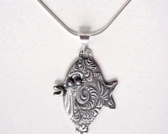 Fish Pendant, Floral Pattern, Original Design in Fine Silver
