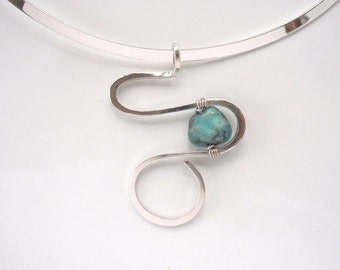 Contemporary Necklace with Silver and Turquoise Gemstone Accent and Swirls