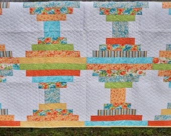 "Twin Quilt lap size 61"" X 82"" beautiful florals spring colorway buttery yellows and pastel blue"