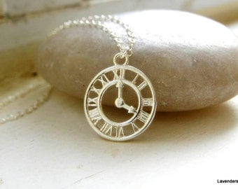 Clock Necklace , Silver Clock Necklace , Dainty  Silver  Necklace , Modern  layering necklace