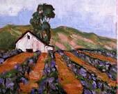 Impressionist Painting CALIFORNIA Plein Air WINERY Barn Grapevines VINEYARD Landscape Art 16x20 Lynne French
