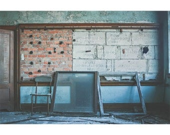 Architecture Photography, 8x12 Print, Abandoned Building Photography, Detroit Art, Abandoned School, Geometric Art, Urban Exploration, Blue