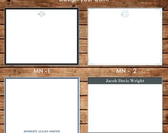 Personalized Masculine Man Men Guy Boy Simple Flat Notes Notecards Stationery with Envelopes - Design your own - Choose ONE DESIGN