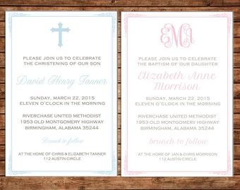 Boy or Girl Baptism Christening Dedication Christian Cross Church Baby Shower Monogram Party Invitation - DIGITAL FILE