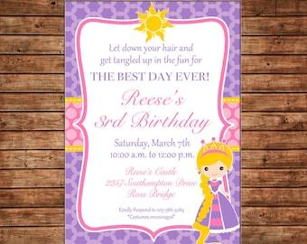 Girl Rapunzel Princess Birthday Party Invitation - DIGITAL FILE